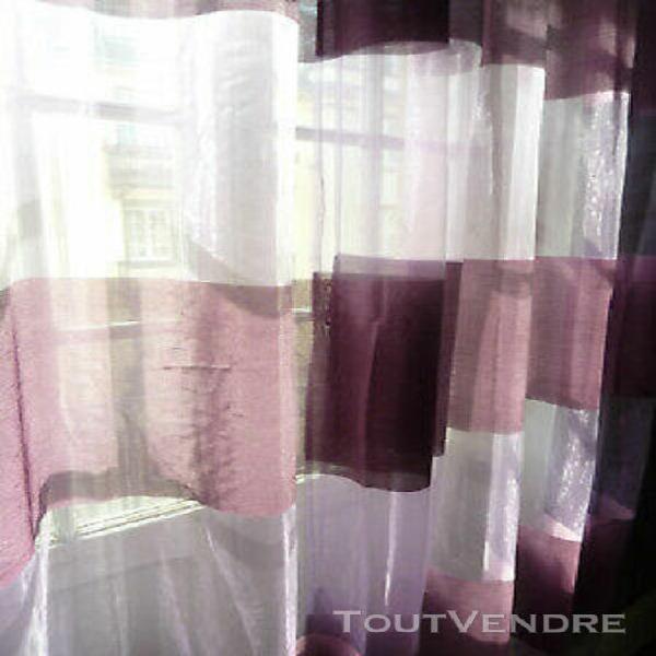 paire de voilages rideaux à rayures horizontales - 0