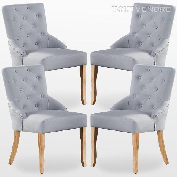 kensington - lot de 4 chaises capitonnées en tissu gris - 0