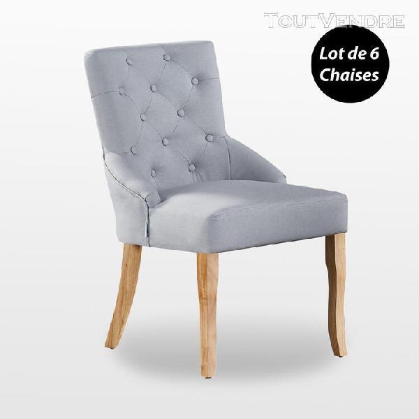 kensington - lot de 6 chaises capitonnées en tissu gris - 0