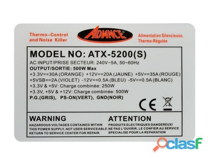 Alimentation PC 500 W Advance ATX 5200S pour PC ATX 1