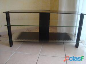 Table télé noire en verre