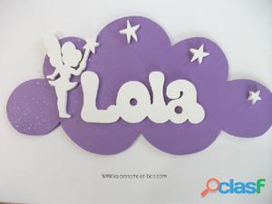 Plaque de porte personnalisée prénom en bois chambre enfant