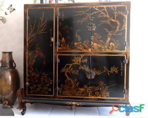 Meuble chinois en bois massif magnifique laque noire
