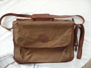 Double sacoche marlborro toile et cuir fauve 50x35x20cm