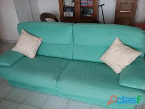 Canapé + fauteuil velour vert occasion