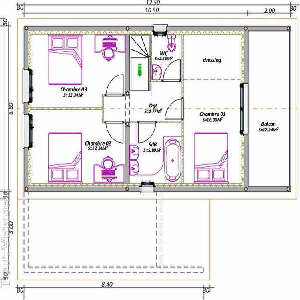 Maison charpente traditionnelle 4 chambres genouilleux 01090