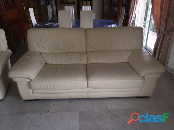 Canapé cuir de buffle, couleur blanc ivoire 3 places occasion