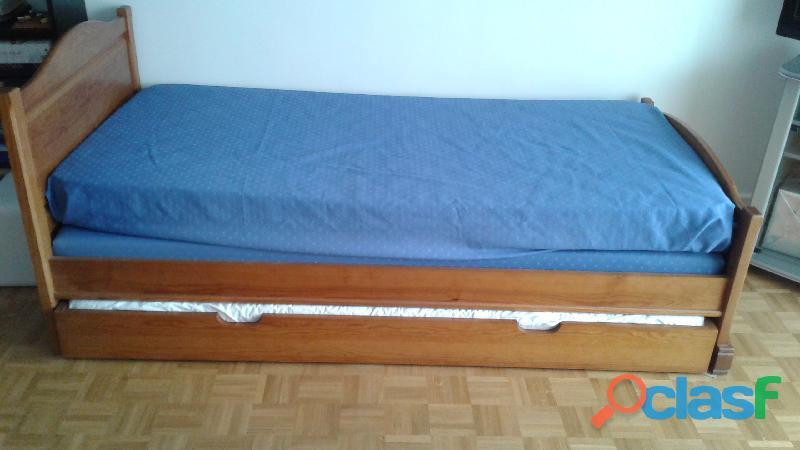 Lit simple 1 pers en pin avec tiroir dessous pour 2ème couchage