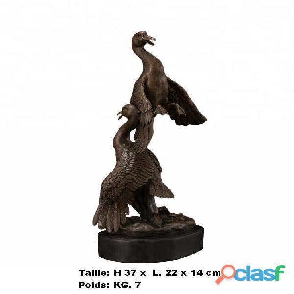 Sculpture '' Oies en amour '' en vrais bronze