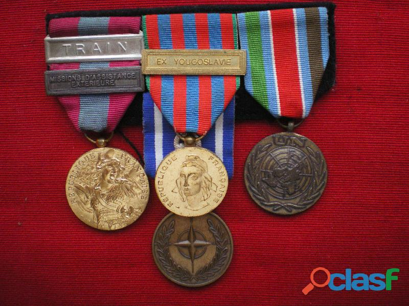 Médailles montées en barrette   otan onu défense nationale