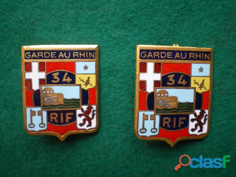 Insigne d'Infanterie   34° RI Garde du Rhin.