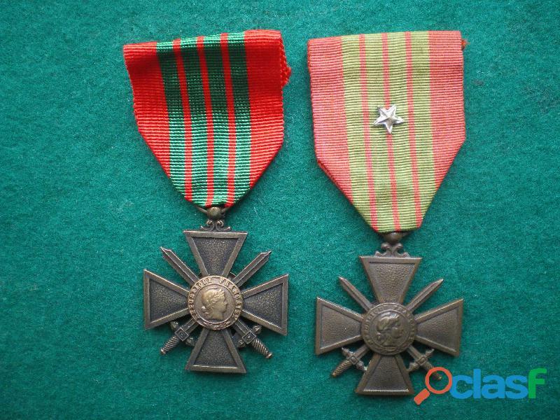 Croix de guerre 1939 1945. 1° et 2° modèle