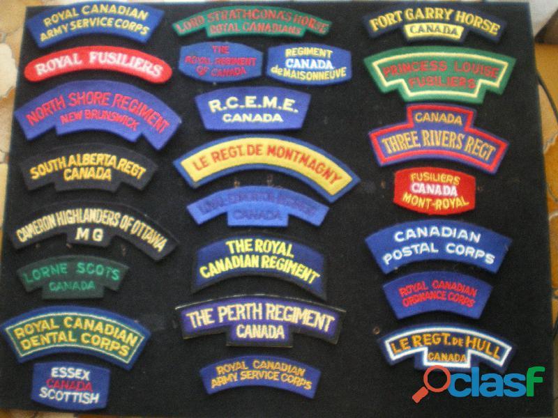 Insignes d'épaule de régiments canadiens en tissu.