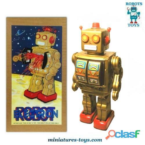 Le robot jouet vintage grand électron en métal