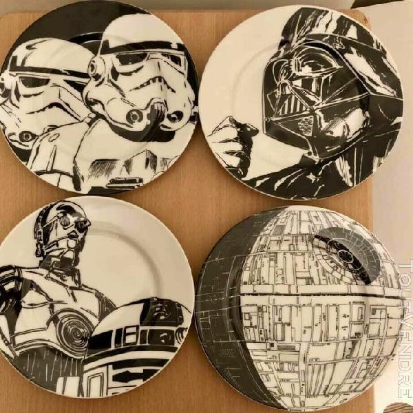 Lot de 4 assiettes star wars en céramique