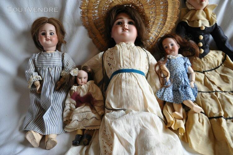 Lot de poupées / tetes en porcelaine / époque 1900/1920