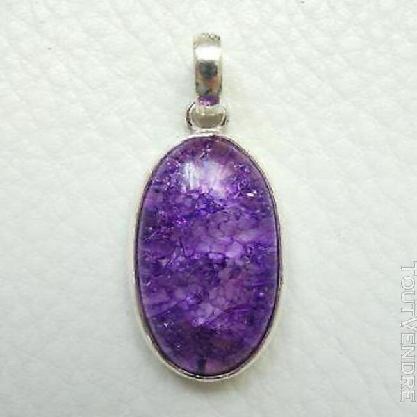 Pendentif argent 925 & pierre marbré violet neuf h=3,8cm! s