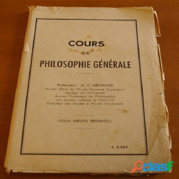 Cours de philosophie générale, c. mélinand