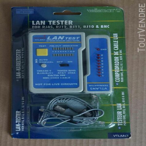 Velleman - testeur réseau pour câble rj10/11/12/rj45 & bnc