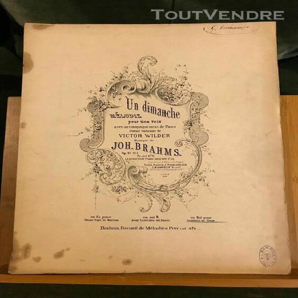 Brahms un dimanche partition chant piano français /