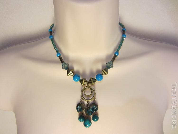 Collier bleu et bronze