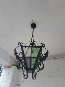 Ancienne suspension / lanterne de porche / lustre / fer