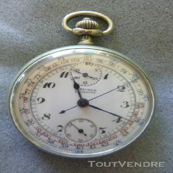 Belle montre chronographe argent massif a gousset