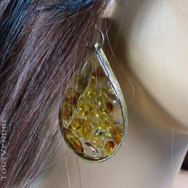 Boucles d'oreille modèle unique argent sterling, citrines