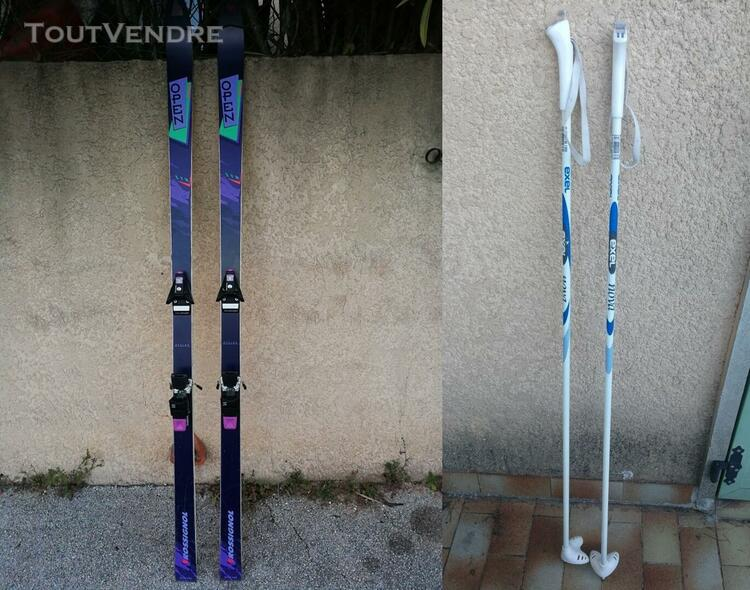 skis rossignol kelvar 185cm + bâtons fibre excel 130cm