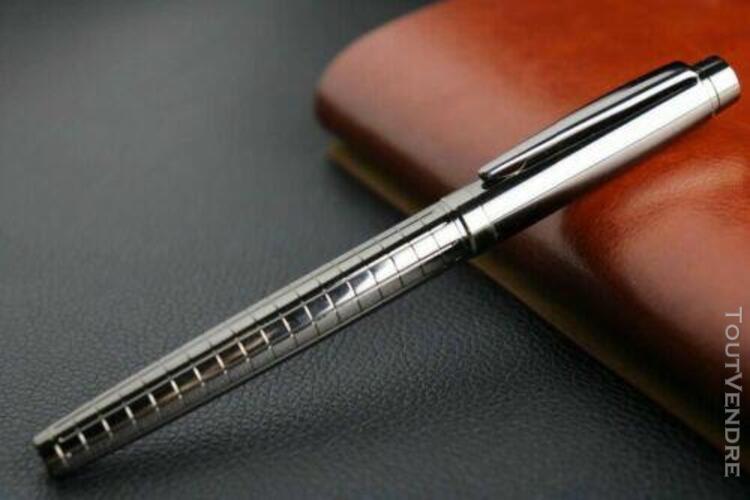 Stylo bille gris foncé échiquier en métal roller ball pen