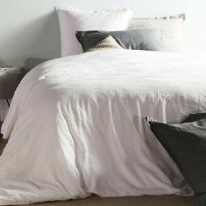 Taie d'oreiller 50x70 lin et coton blanc hortense