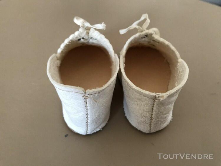 Ancienne chaussures en cuir pour poupée jumeau,steiner, f.