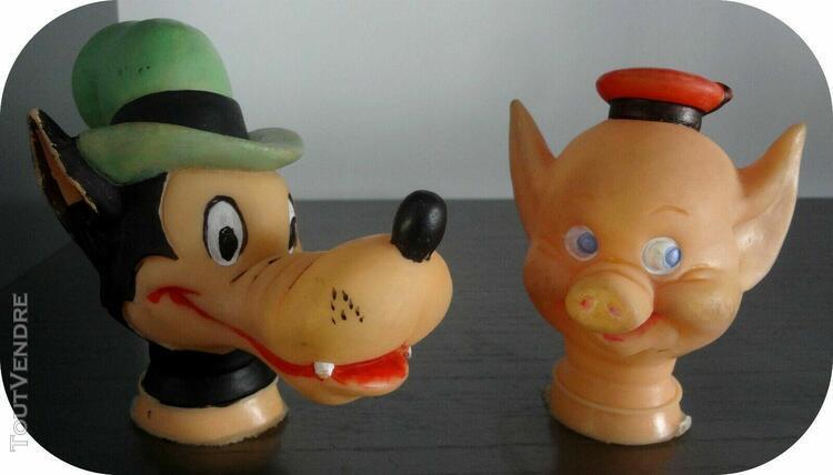 Têtes et mains de marionnettes en caoutchouc, vintages*