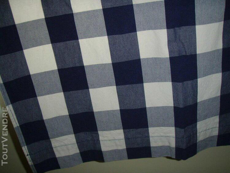 Double rideaux coton carreaux bleu marine et écru bon éta