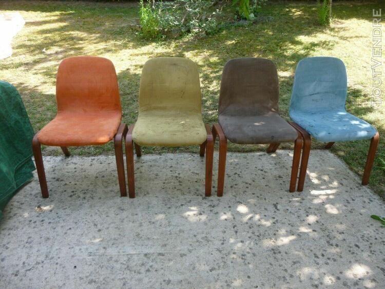 Lot de 4 chaises bois et tissu sedus années 70 années 80
