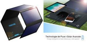 Poweradd panneau solaire pliable 24w, deux ports caches de