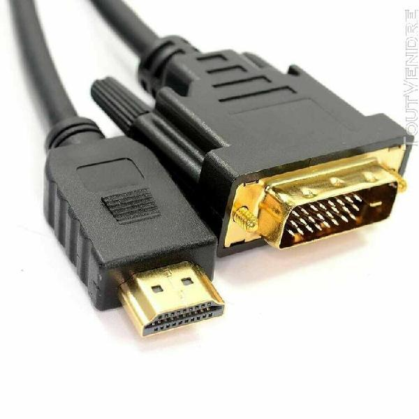 Câble hdmi vers dvi 19 pins (18+1) blindé contacts or 2.5
