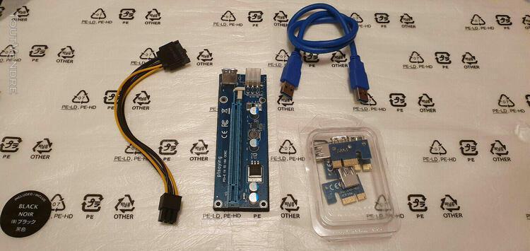 15 x usb 3.0 pci-e 1x-16x extender riser card adaptateur pow