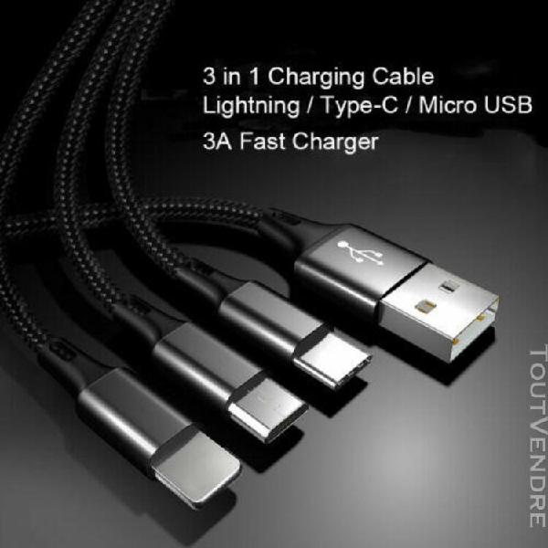 3in1 type-c lightning micro usb cable chargeur phone samsung