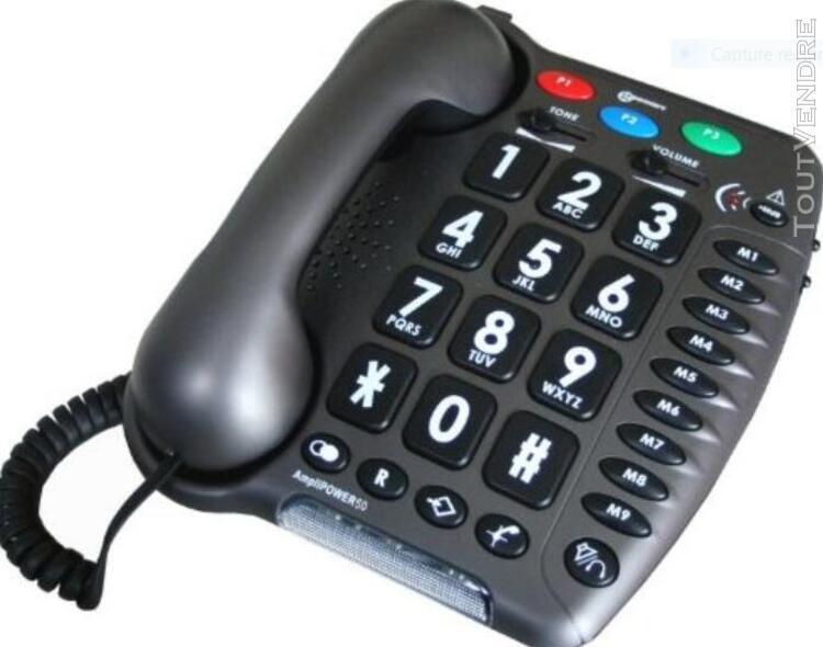 Téléphone fixe filaire geemarc amplipower 50 noir