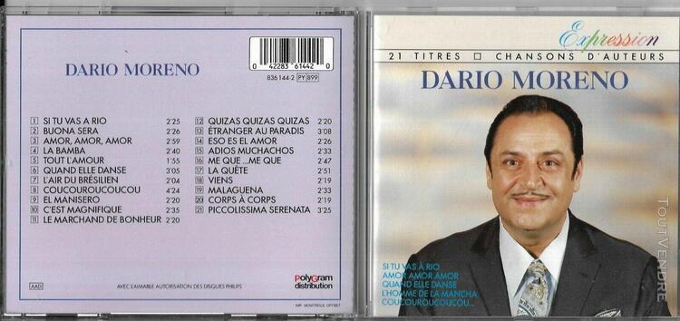 Cd 21 titres dario moreno chansons d'auteurs 1988 série