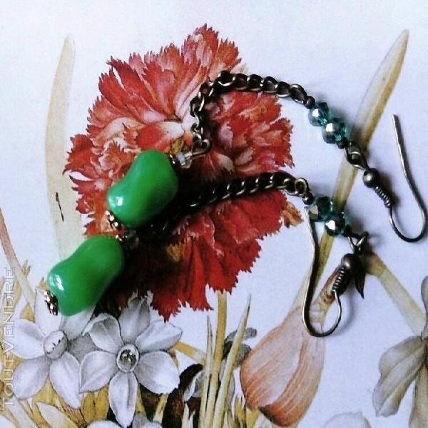 Boucles d'oreilles art déco murano swarovski fait main