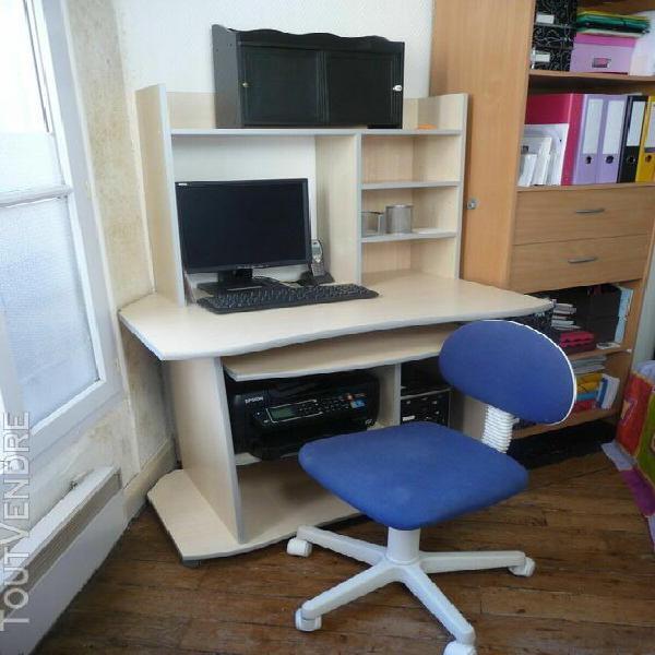 Ensemble bureau erable blond - 3 pièces= meuble micro + sur