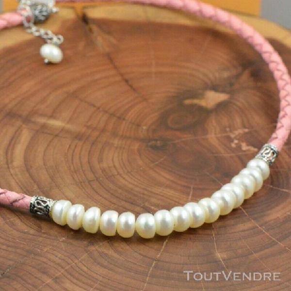 Bracelet et collier en argent poinçonné 925, perles et