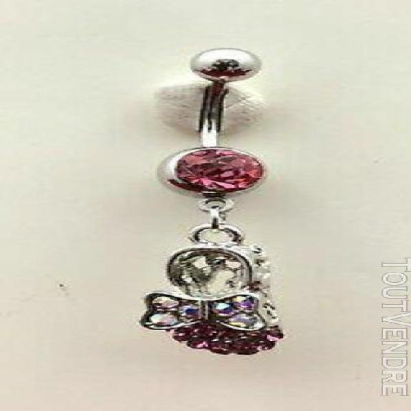 Piercing nombril acier chirurgical 316l escarpin rose strass