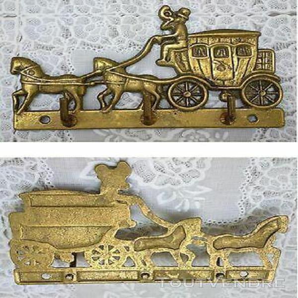accroche torchons clé laiton cheval carrosse chevaux brass