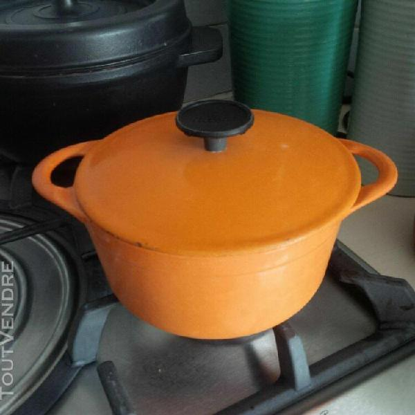 cocotte en fonte cousances orange 16 cm vintage
