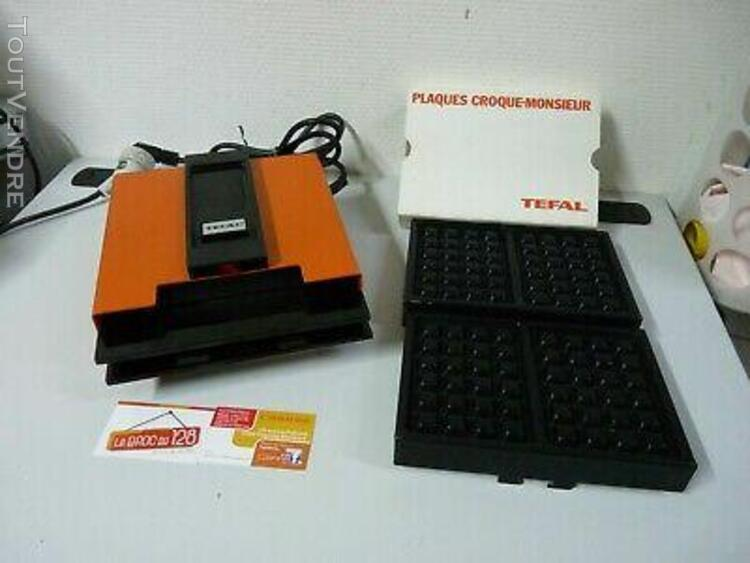 gaufrier tefal orange croque gaufre vintage fonctionne plaqu