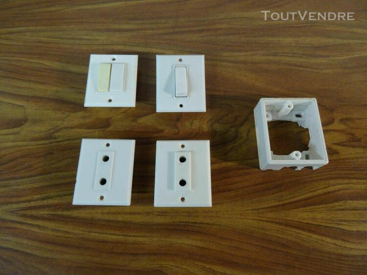 lot legrand mistral 2 interrupteurs / 2 prises sans terre /