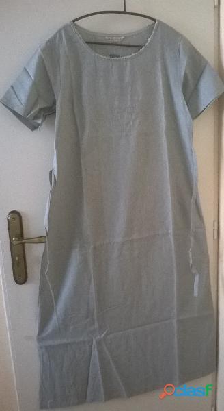 Robe en lin fluide plein été, vert clair, taille xl, décolletée avec petites manches